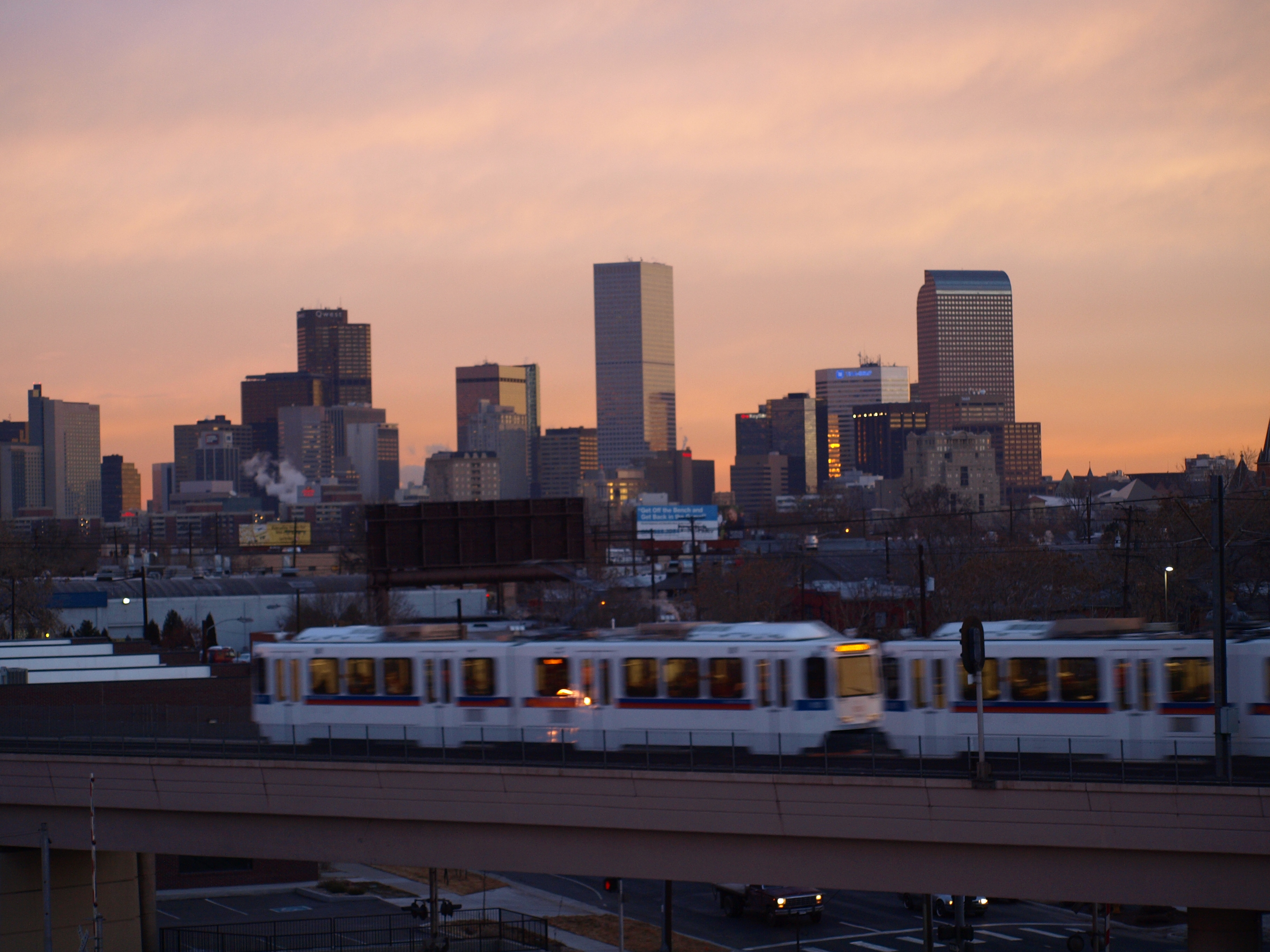 Downtown Denver with RTD light rail train from Bolt Factory