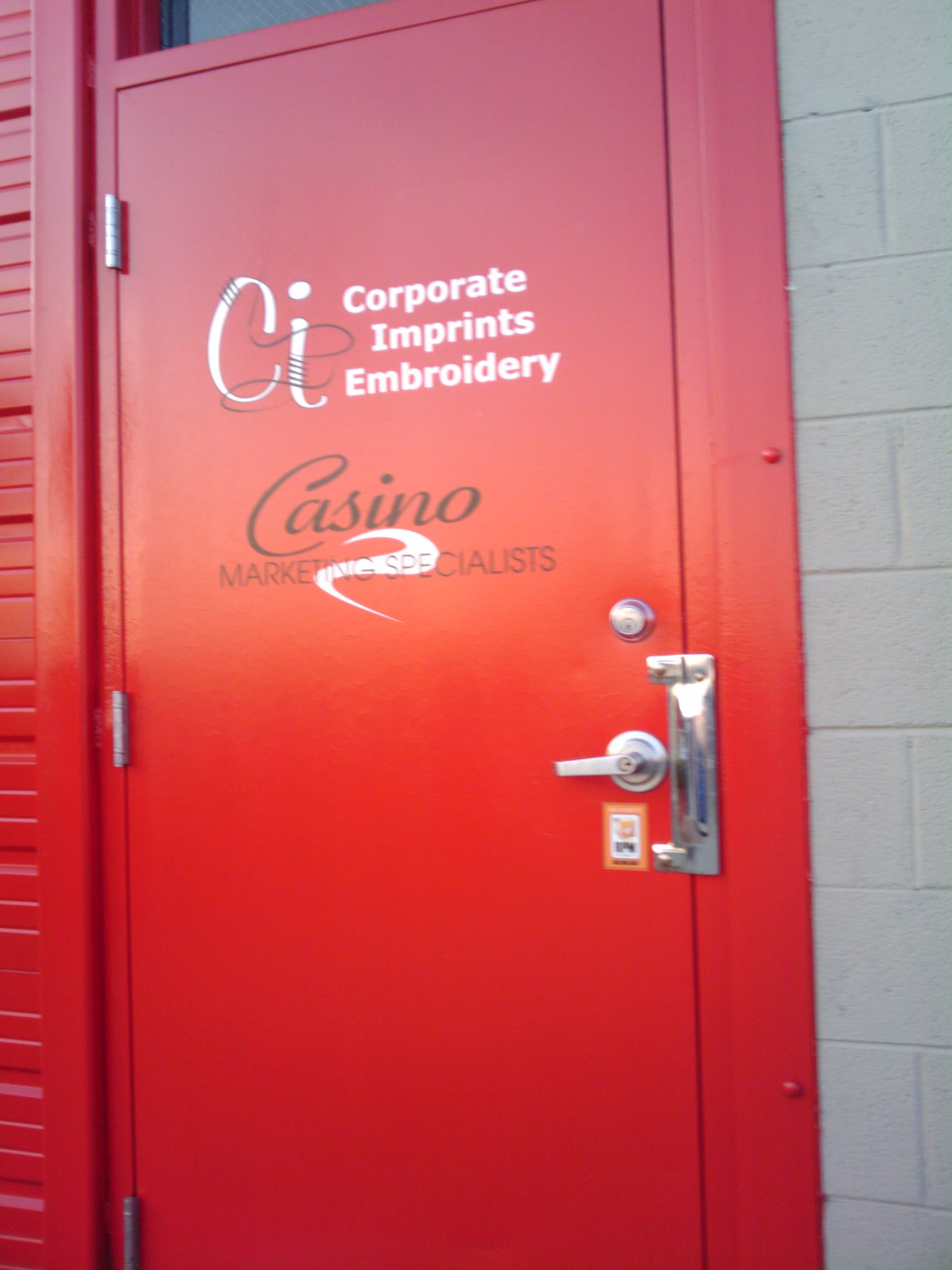 Front Door At Corporate Imprints Embroidery Casino Marketing